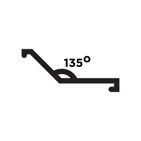 Obtuse angle of 135 degrees icon vector isolated on white background for your web and mobile app design, Obtuse angle of 135 degrees logo concept