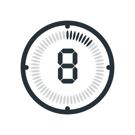 El icono de 8 minutos aislado sobre fondo blanco, reloj y reloj, temporizador, símbolo de cuenta atrás, cronómetro, icono de vector de temporizador digital