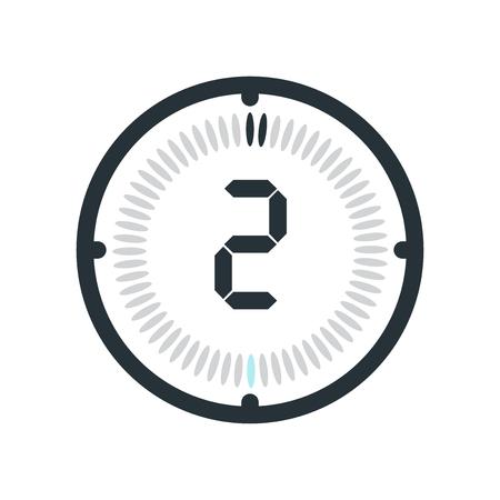 L'icône de 2 minutes isolé sur fond blanc, horloge et montre, minuterie, symbole du compte à rebours, chronomètre, icône de vecteur de minuterie numérique Vecteurs