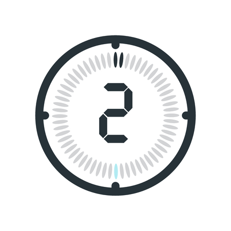 The 2 minutes icon isolated on white background, clock and watch, timer, countdown symbol, stopwatch, digital timer vector icon Illustration