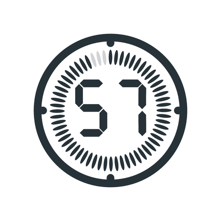 The 57 minutes icon isolated on white background, clock and watch, timer, countdown symbol, stopwatch, digital timer vector icon Stock Illustratie
