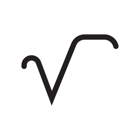 Square root symbol icon vector isolated on white background for your web and mobile app design, Square root symbol logo concept