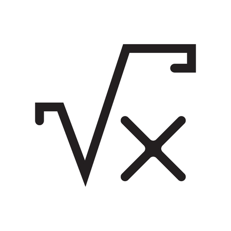 Square root of x signs icon vector isolated on white background for your web and mobile app design, Square root of x signs logo concept Illustration