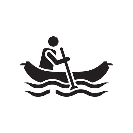 Hombre en canoa icono vector aislado sobre fondo blanco para su diseño web y aplicaciones móviles, hombre en canoa logo concepto Logos