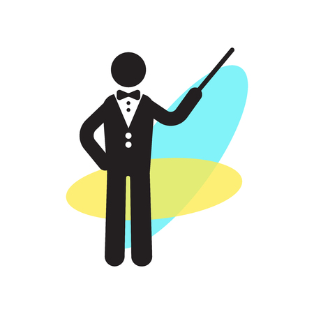 Orchestra director with stick icon vector isolated on white background for your web and mobile app design, Orchestra director with stick logo concept