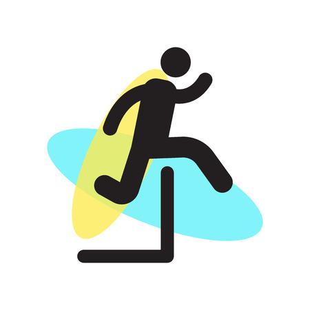 Man jumping an obstacle icon vector isolated on white background for your web and mobile app design, Man jumping an obstacle logo concept Illustration