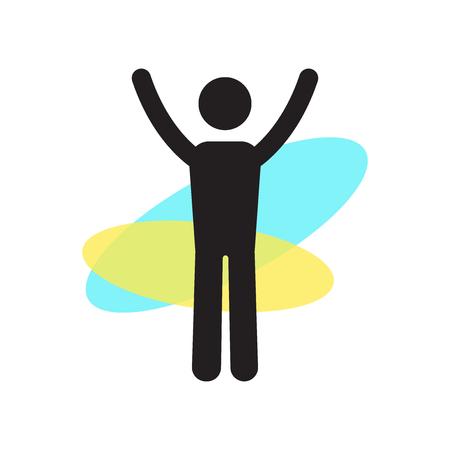 Mann stehend mit Armen hoch Ikonenvektor lokalisiert auf weißem Hintergrund für Ihr Web- und mobile App-Design, Mann stehend mit Armen hoch Logo-Konzept Logo