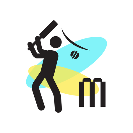 Cricket player with bat icon vector isolated on white background for your web and mobile app design, Cricket player with bat logo concept  イラスト・ベクター素材