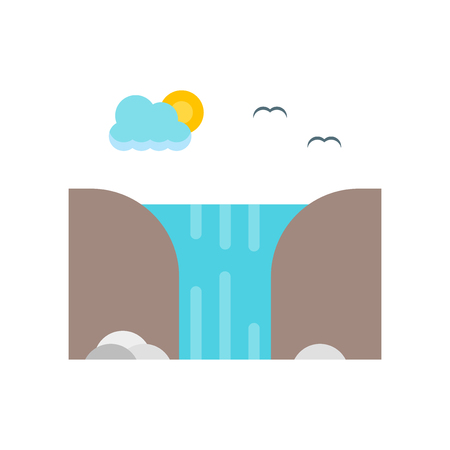 Waterfall icon vector isolated on white background for your web and mobile app design, Waterfall logo concept