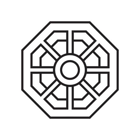 Vecteur d'icône miroir Pa kua isolé sur fond blanc pour la conception de votre application web et mobile, concept logo Pa kua miroir Logo