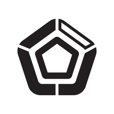 Vecteur d'icône graphique pentagonal isolé sur fond blanc pour la conception de votre application web et mobile, concept de logo graphique pentagonal