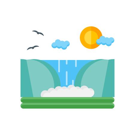 Wasserfall-Symbolvektor lokalisiert auf weißem Hintergrund für Ihr Web- und mobiles App-Design, Wasserfall-Logo-Konzept