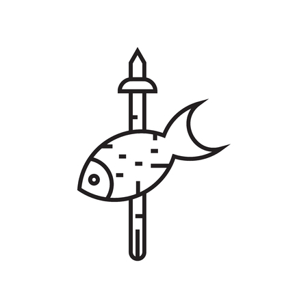 Fishing icon vector isolated on white background for your web and mobile app design, Fishing logo concept Ilustração