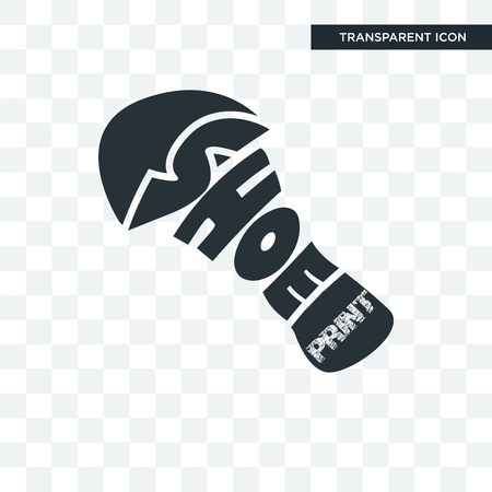 shoe print vector icon isolated on transparent background