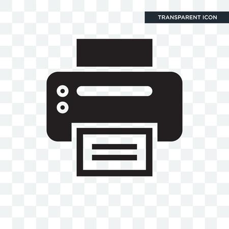Icona di vettore della stampante da ufficio isolato su sfondo trasparente Vettoriali