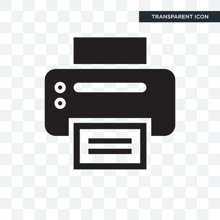 Office-printer vector pictogram geïsoleerd op transparante achtergrond Vector Illustratie
