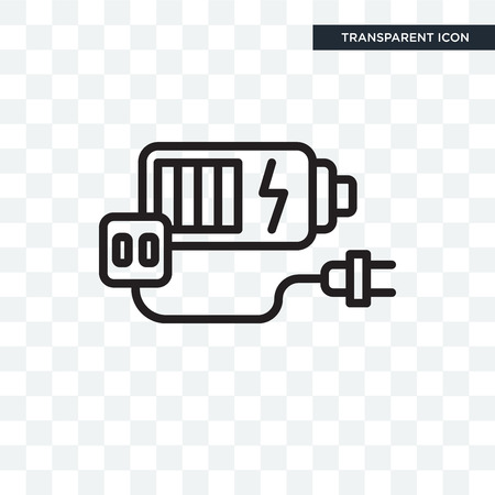 Battery vector icon isolated on transparent background