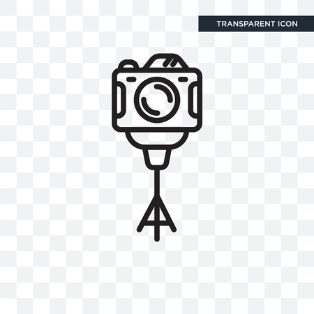 Camera stand vector icon isolated on transparent background