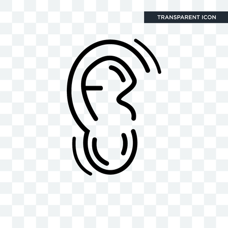 Human Ear vector icon isolated on transparent background
