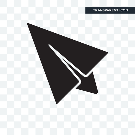 Flying Origami Airplane vector icon isolated on transparent background, Flying Origami Airplane logo concept Vettoriali