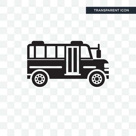 School bus vector icon isolated on transparent background, School bus logo concept Illustration