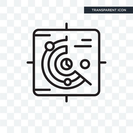 radar vector icon isolated on transparent background, radar logo concept
