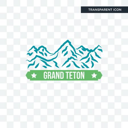grand teton vector icon isolated on transparent background, grand teton logo concept