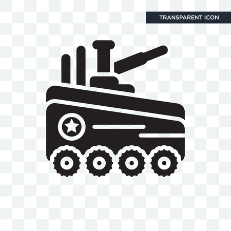 Tank vector icon isolated on transparent background, Tank logo concept Illustration