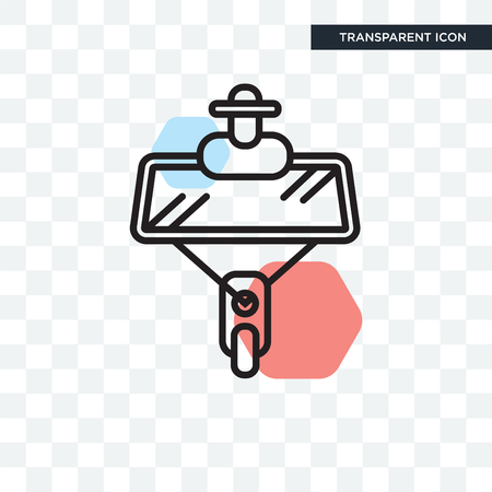 Rearview mirror vector icon isolated on transparent background, Rearview mirror logo concept