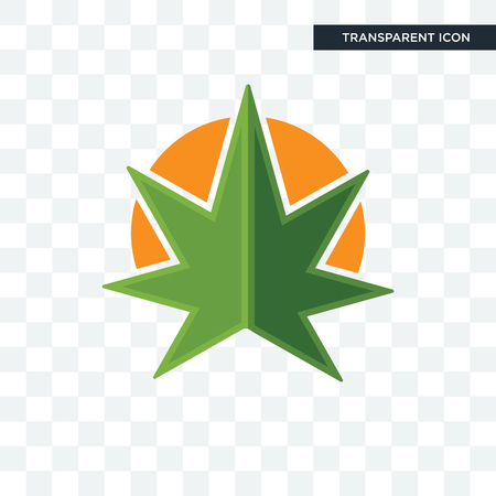 weed leaf vector icon isolated on transparent background, weed leaf logo concept Illustration