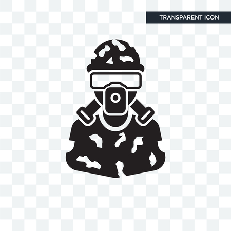 Soldier vector icon isolated on transparent background, Soldier logo concept