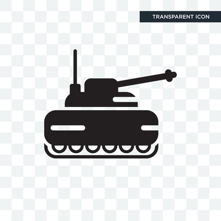 Tank vector icon isolated on transparent background, Tank logo concept Vettoriali