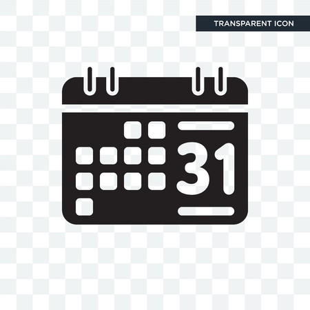 Weekly calendar vector icon isolated on transparent background, Weekly calendar logo concept
