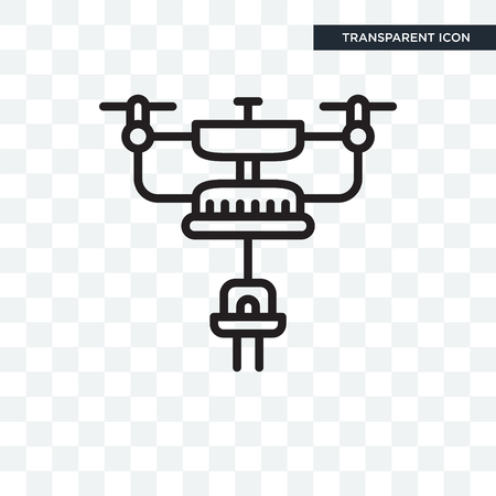 drone vector icon isolated on transparent background, drone logo concept