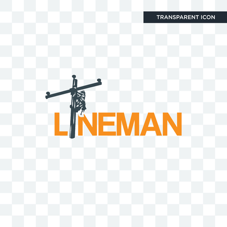 lineman vector icon isolated on transparent background, lineman logo concept Stock Illustratie