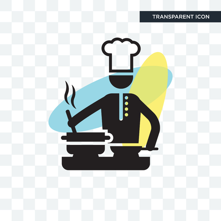 Chef cooking on Stove vector icon isolated on transparent background, Chef cooking on Stove logo concept Logó
