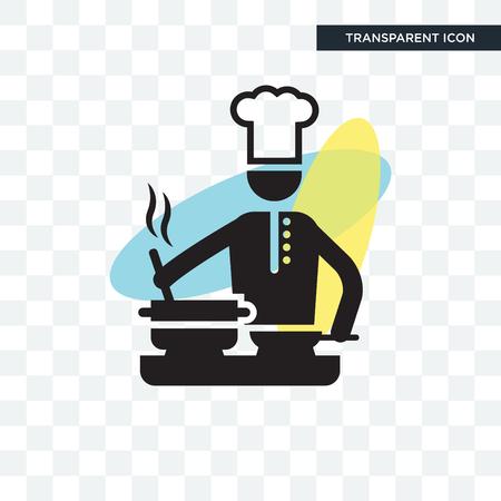 Chef de cuisine sur l'icône de vecteur de cuisinière isolé sur fond transparent, chef de cuisine sur le concept de logo de cuisinière Logo