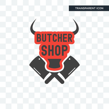 butcher shop vector icon isolated on transparent background, butcher shop logo concept