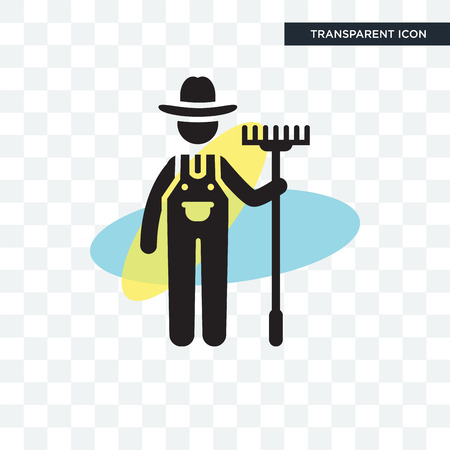 Farmer vector icon isolated on transparent background, Farmer logo concept