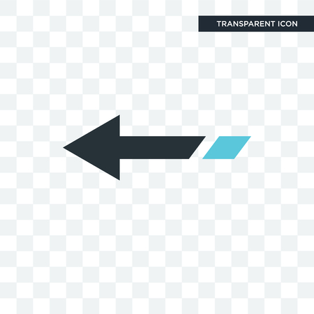 Left arrow vector icon isolated on transparent background, Left arrow logo concept Çizim