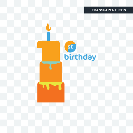 first birthday vector icon isolated on transparent background, first birthday logo concept Illustration