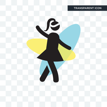 Girl walking vector icon isolated on transparent background, Girl walking logo concept Foto de archivo - 107942296