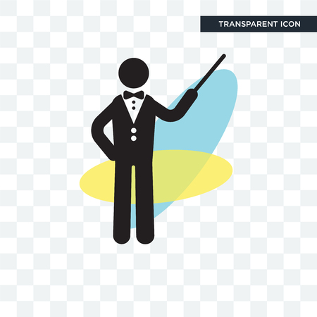 Orchestra director with stick vector icon isolated on transparent background, Orchestra director with stick logo concept