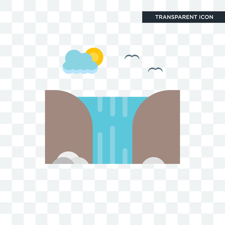 Waterfall vector icon isolated on transparent background, Waterfall logo concept Vectores
