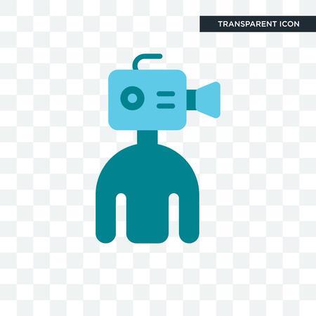 cameraman vector icon isolated on transparent background, cameraman logo concept