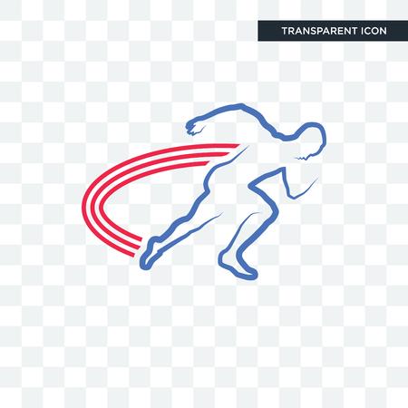 Icono de vector de pista y campo aislado sobre fondo transparente, concepto de logo de pista y campo Logos