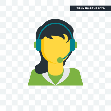 Telemarketer vector icon isolated on transparent background, Telemarketer logo concept Vettoriali