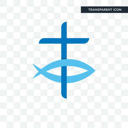 christian fish vector icon isolated on transparent background, christian fish logo concept