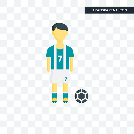 Football player vector icon isolated on transparent background, Football player logo concept
