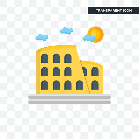 Kolosseum-Vektorsymbol isoliert auf transparentem Hintergrund, Kolosseum-Logo-Konzept